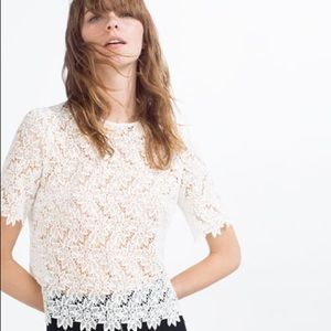 Zara 70's Inspired White Floral Lace Top